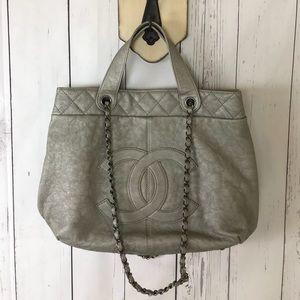 Chanel Large Shopping Tote Shoulder Bag Silver
